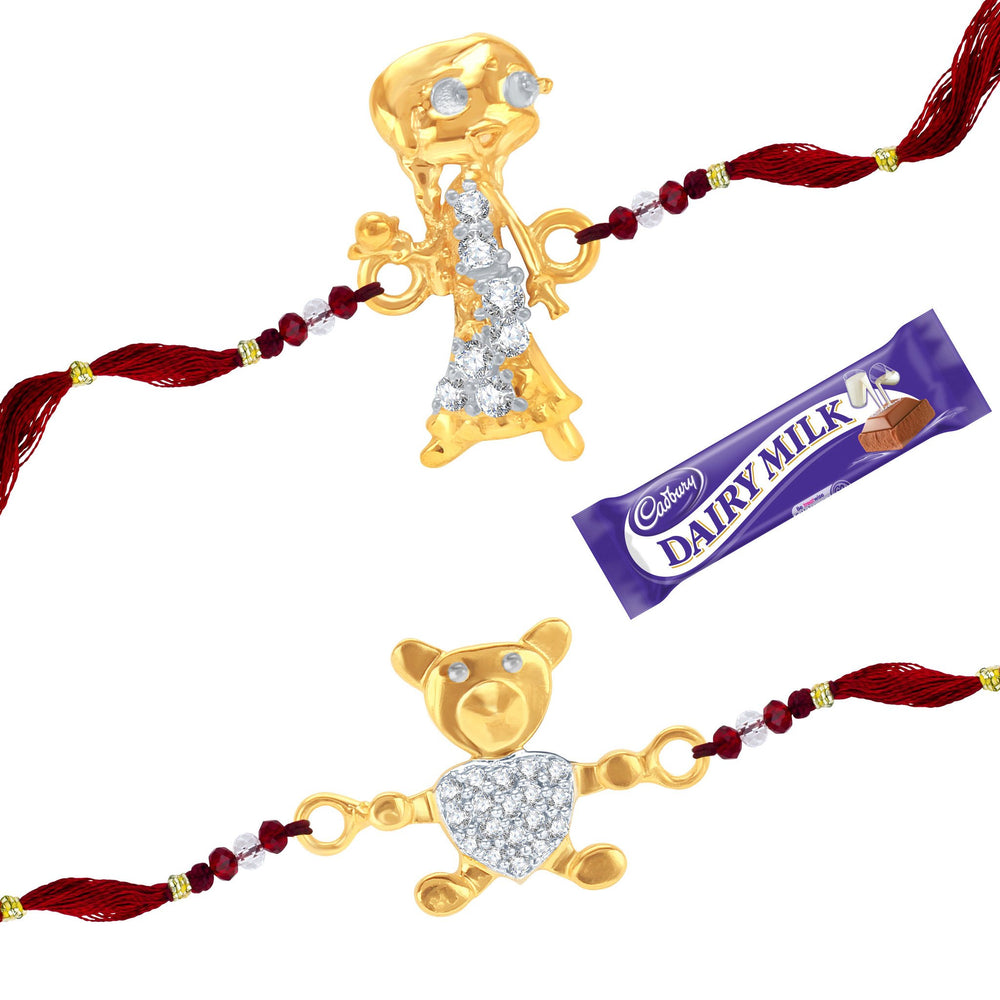 Sukkhi CZ  Studded Chutki and Teddy Bear Rakhi Combo for Kids