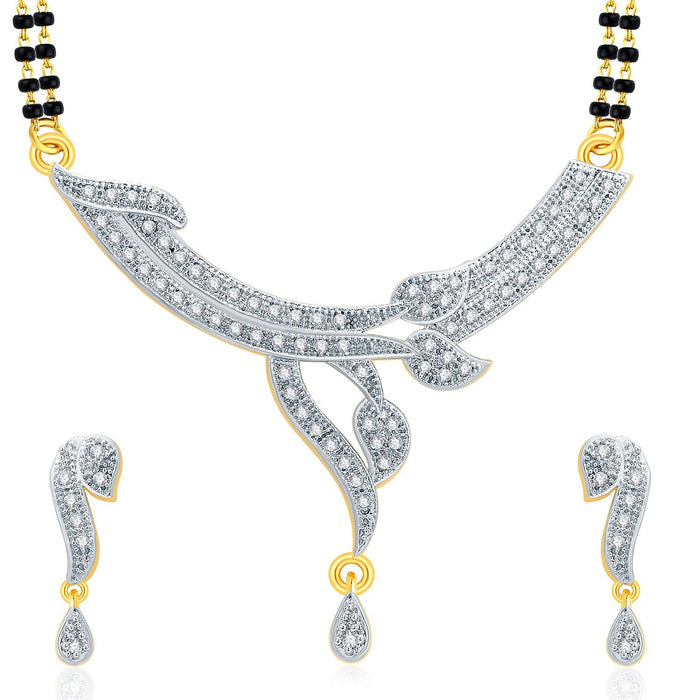 Pissara Spellbinding Gold And Rhodium Plated CZ Mangalasutra Set For Women