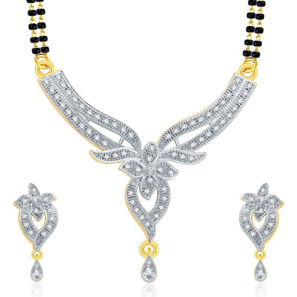 Pissara Sparkling Gold And Rhodium Plated CZ Mangalasutra Set For Women