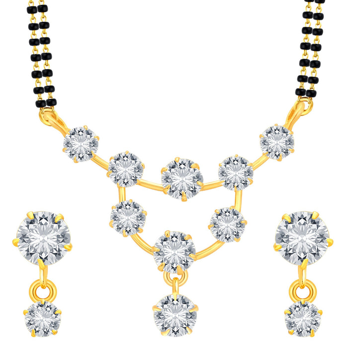 Pissara Incredible Gold Plated CZ Mangalsutra Set For Women