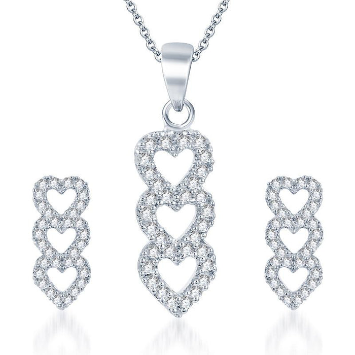 Pissara Attractive Rhodium plated CZ Pendant Set