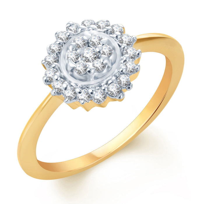 Pissara Attractive Gold and Rhodium Plated CZ Ring