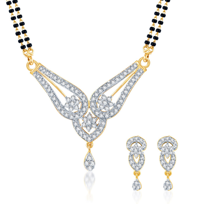 Pissara Gleaming CZ Gold and Rhodium Plated Mangalsutra Set