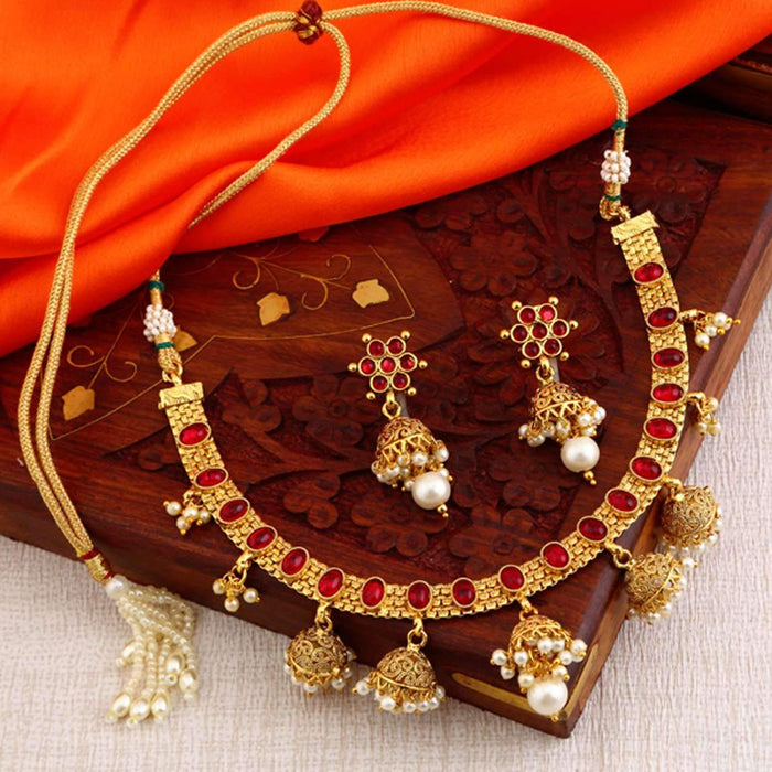 Sukkhi Fabulous Red Gold Plated Necklace Set for women