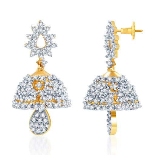 Pissara Magnificent Gold and Rhodium Plated CZ Jhumki