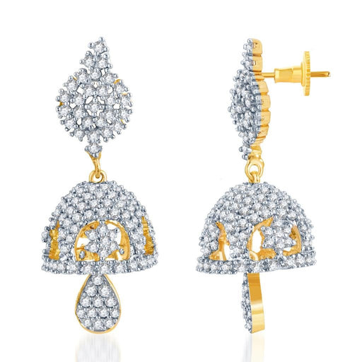 Pissara Glorius Gold and Rhodium Plated CZ Jhumki