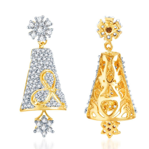 Pissara Splendid Gold and Rhodium Plated CZ Jhumki