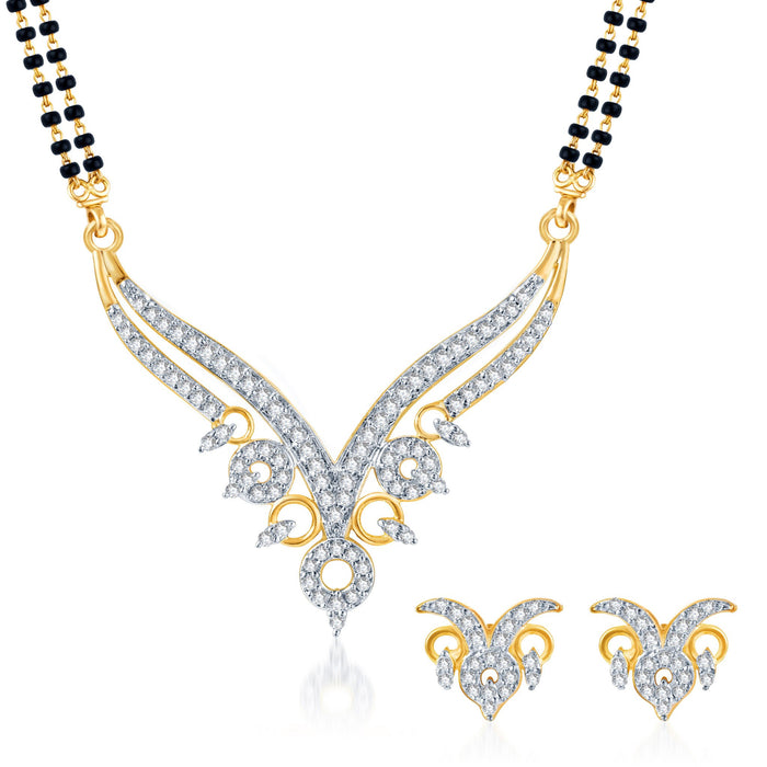 Pissara Ravishing CZ Gold and Rhodium Plated Mangalsutra Set