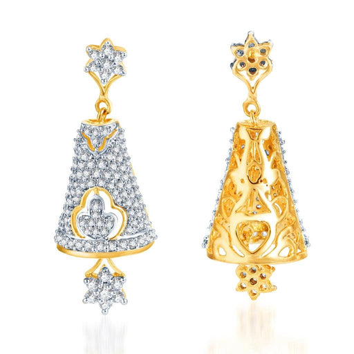 Pissara Gleaming Gold and Rhodium Plated CZ Jhumki