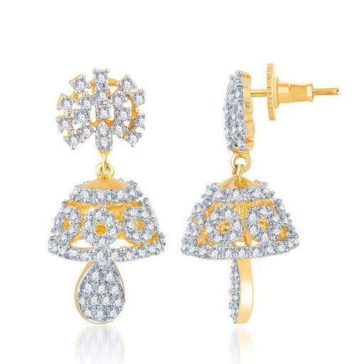 Pissara Traditional Gold and Rhodium Plated CZ Jhumki
