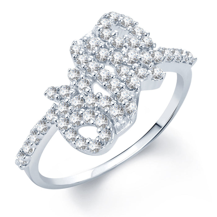 Pissara Eye-Catchy Rhodium Plated CZ Ring