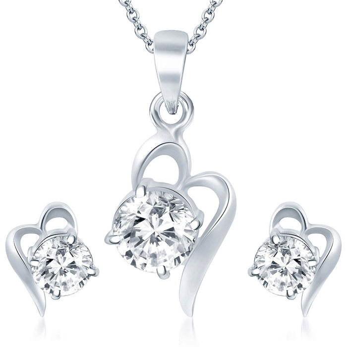 Pissara Splendid Rhodium Plated Solitaire CZ Pendant Set