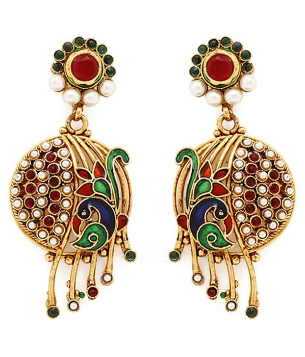 Sukkhi Appealing Peacock Gold Plated AD Earring For Women