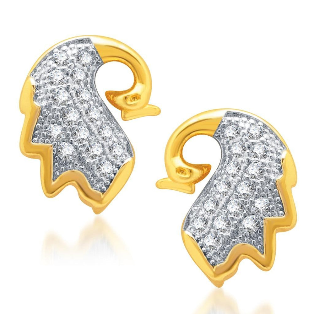 Pissara Splendid Gold and Rhodium Plated Micro Pave CZ Earrings