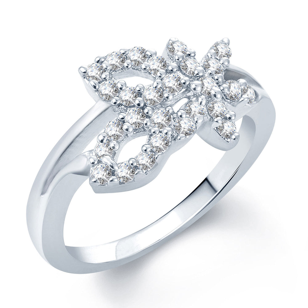 Pissara Exquitely Crafted Rhodium Plated CZ Ring