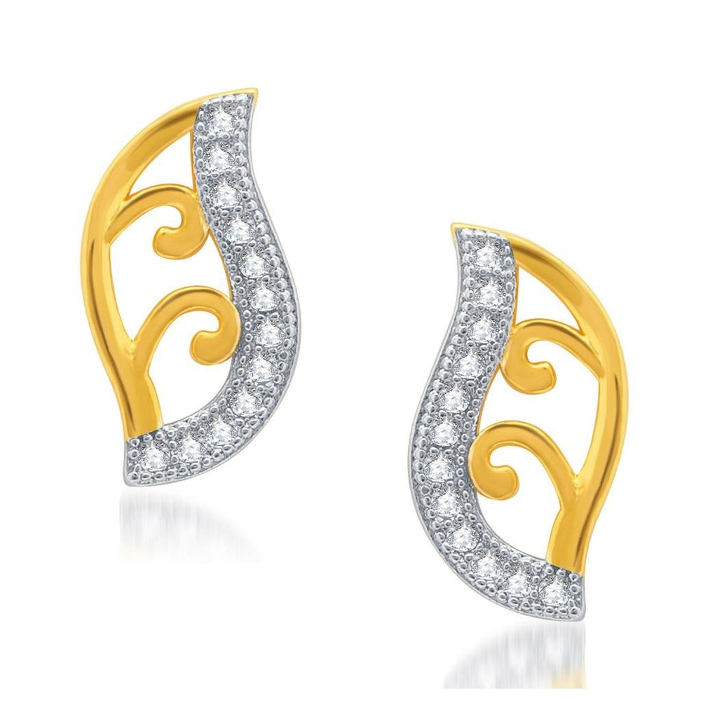 Pissara Shimmering Gold and Rhodium Plated Micro Pave CZ Earrings