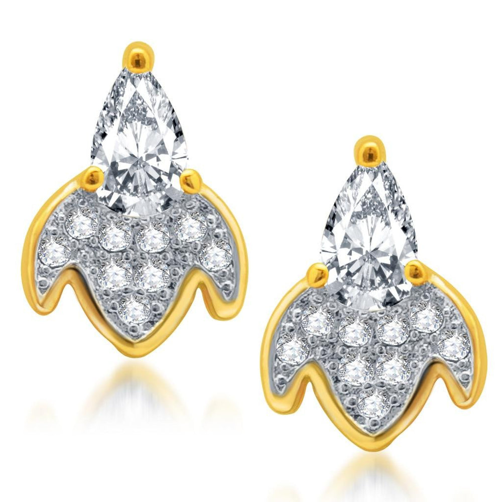 Pissara Ritzzy Gold and Rhodium Plated Micro Pave CZ Earrings