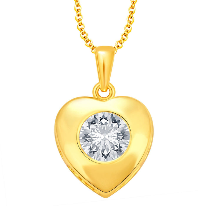 Sukkhi Dazzling Solitaire Heart Gold Plated Cz Pendant For Women