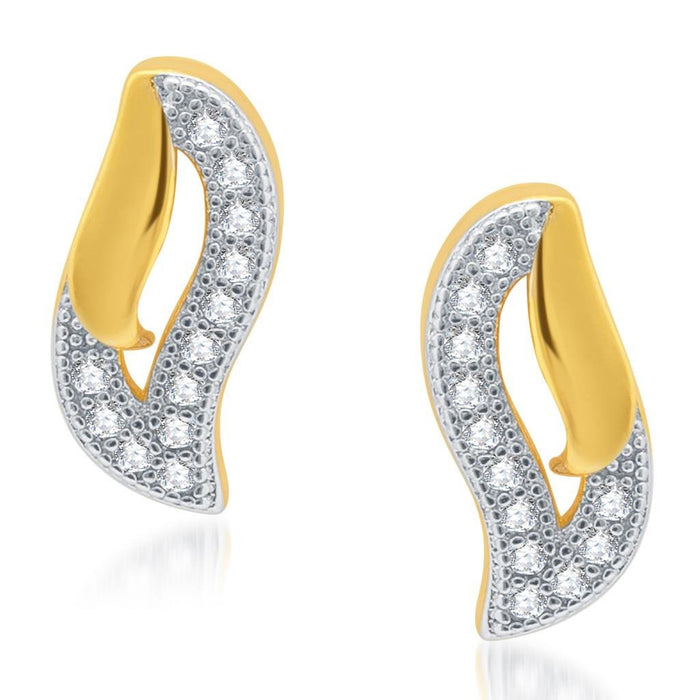 Pissara Ravishing Gold and Rhodium Plated Micro Pave CZ Earrings