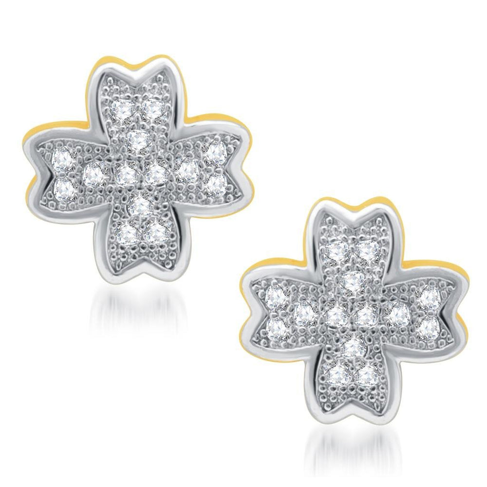 Pissara Marvelous Gold and Rhodium Plated Micro Pave CZ Earrings