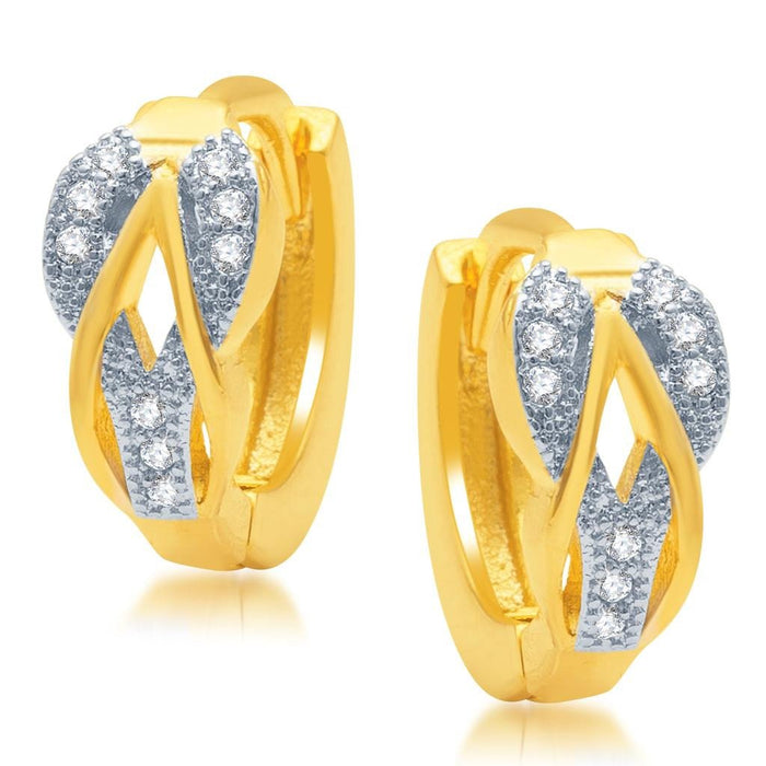 Pissara Intricately Gold and Rhodium Plated Micro Pave CZ Earrings