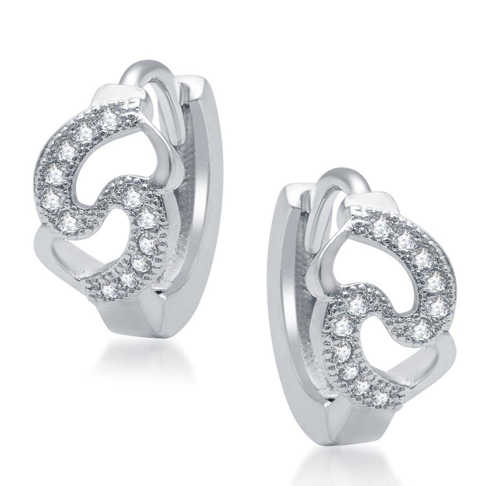 Pissara Glittery Rhodium Plated Micro Pave CZ Earrings