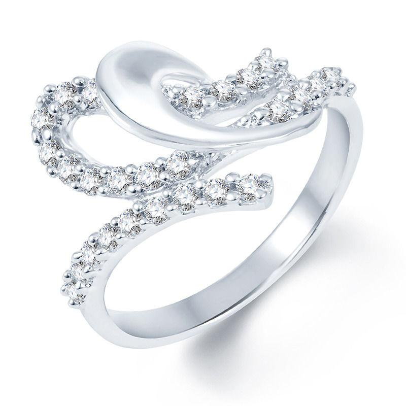 Pissara Pleasing Rhodium plated CZ Studded Ring