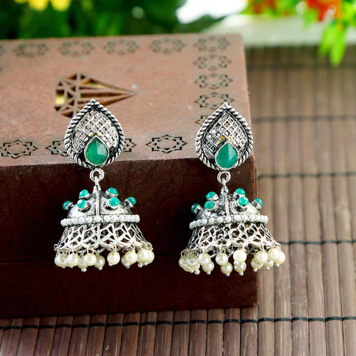 Sukkhi Exotic Rhodium Oxidized Jhumki Earrings For Women