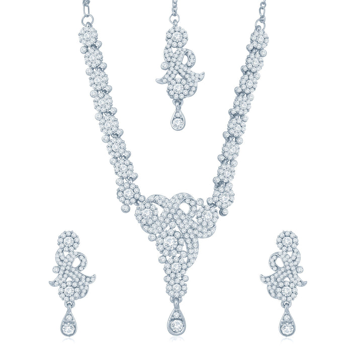 Sukkhi Enchanting Rhodium Plated Australian Diamond Stone Studded Necklace Set