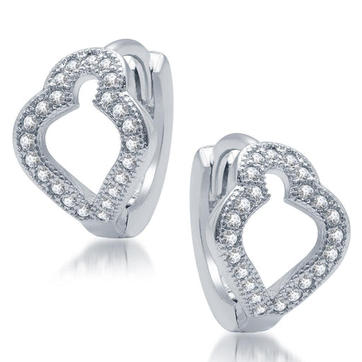 Pissara Glimmery Rhodium Plated Micro Pave CZ Earrings