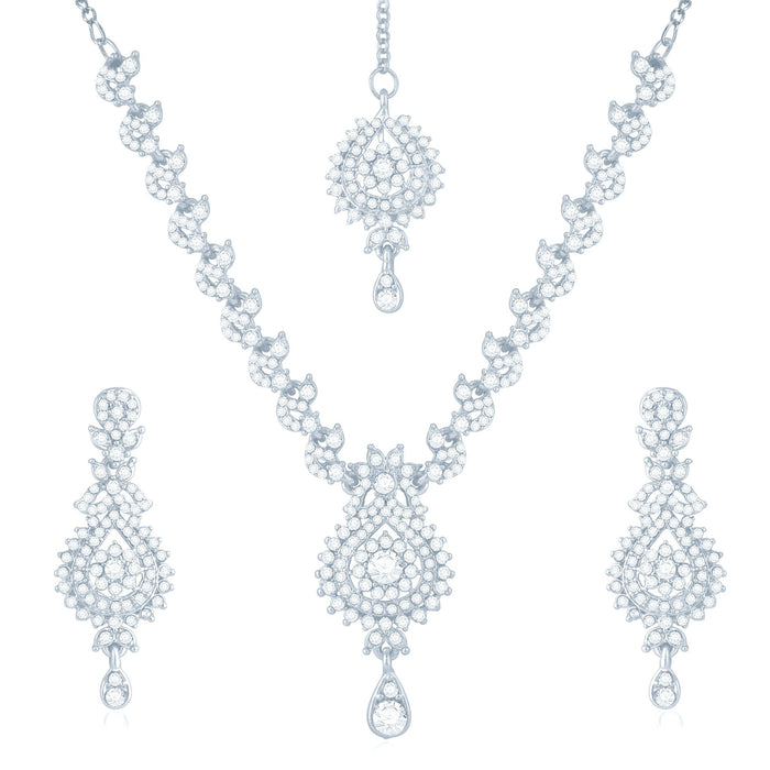 Sukkhi Creative Rhodium Plated Australian Diamond Stone Studded Necklace Set