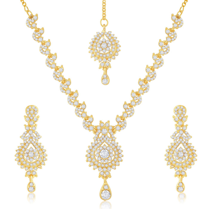 Sukkhi Elegant Gold Plated Australian Diamond Stone Studded Necklace Set