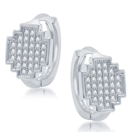 Pissara Gleaming Rhodium Plated Micro Pave CZ Earrings
