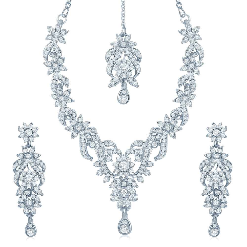 Sukkhi Attractive Rhodium Plated Australian Diamond Stone Studded Necklace Set