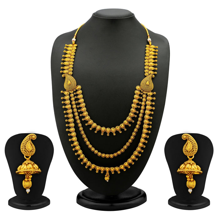 Sukkhi Beguilling Gold Plated 3 Strings Antique Necklace Set
