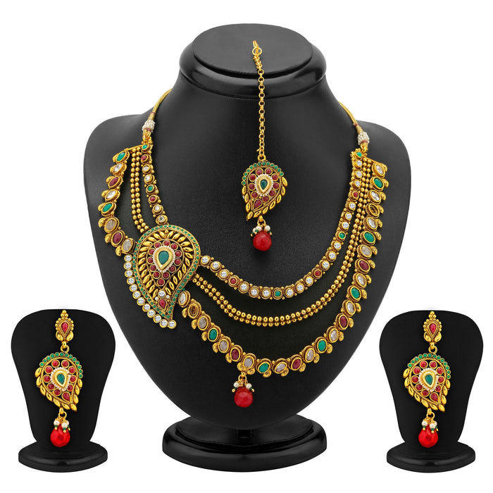 Sukkhi 3 Strings One Sided Mango Design Gold Plated Antique Necklace Set
