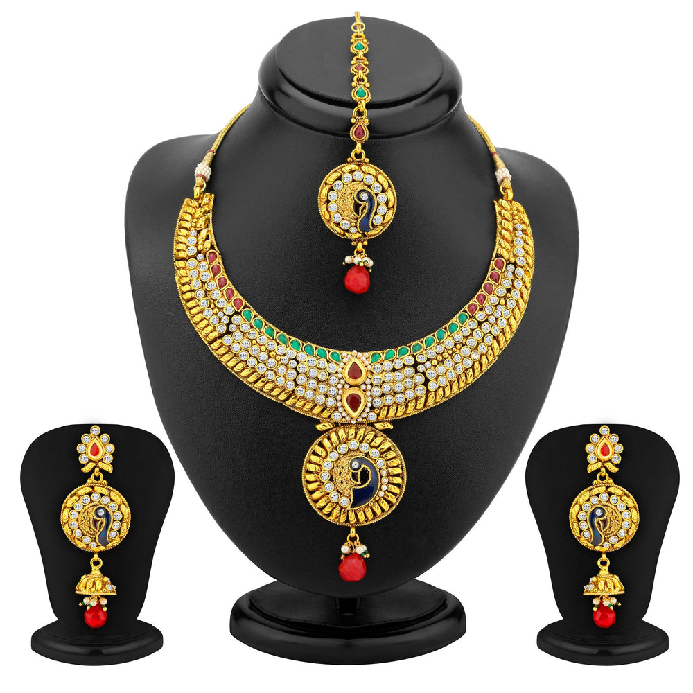 Sukkhi Creative Gold Plated AD Peacock Antique Necklace Set