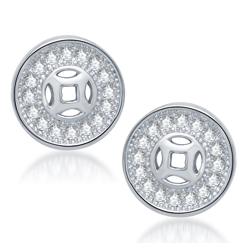 Sukkhi Fashionable Rhodium Plated Micro Pave Cz Earrings