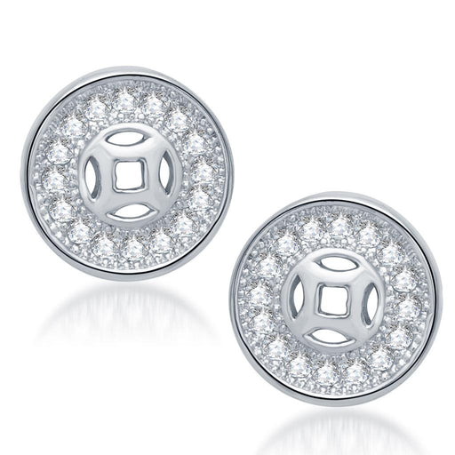 Pissara Fashionable Rhodium Plated Micro Pave CZ Earrings