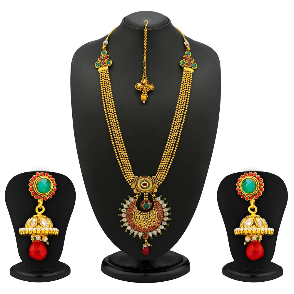 Sukkhi Classic 5 Strings Gold Plated Antique Ball Chain Set