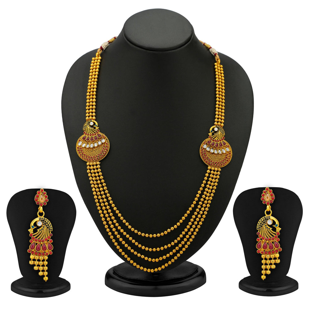 Sukkhi Beguiling 5 Strings Gold Plated Peacock Antique Necklace Set