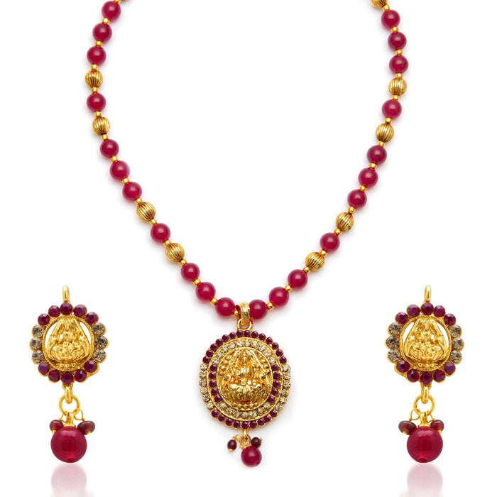 Sukkhi Exquisite Gold Plated AD Temple Jewellery Necklace Set for Women-3