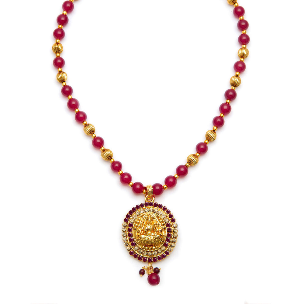 Sukkhi Exquisite Gold Plated AD Temple Jewellery Necklace Set for Women-4
