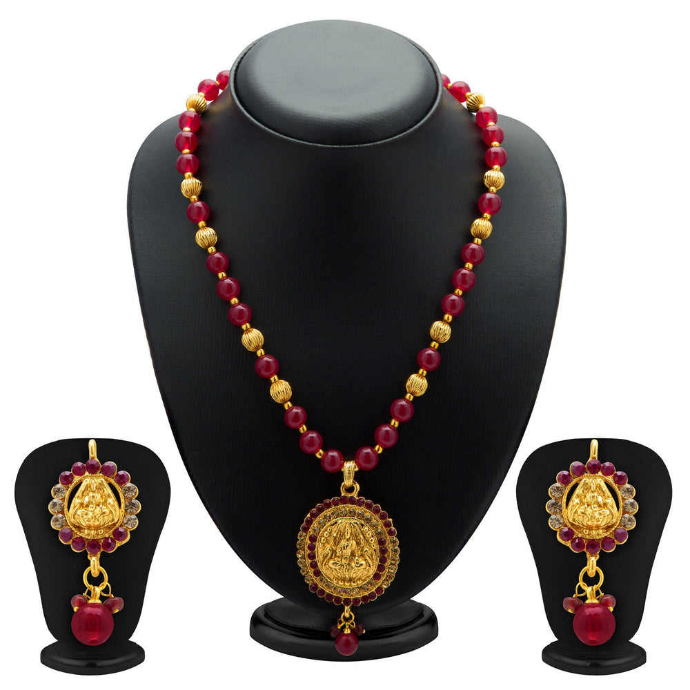 Sukkhi Exquisite Gold Plated AD Temple Jewellery Necklace Set for Women
