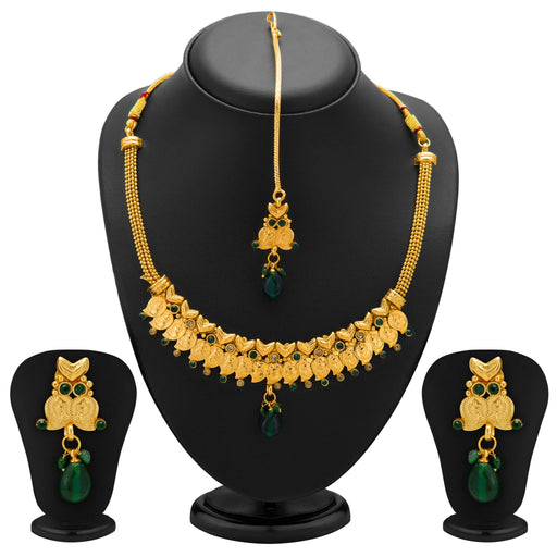 Sukkhi Fashionable Gold Plated Temple Jewellery Necklace Set for Women