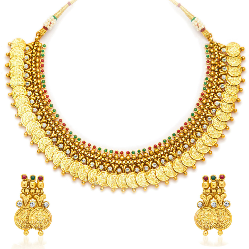Sukkhi Enchanting Gold Plated Temple Jewellery Coin Necklace Set for Women-3