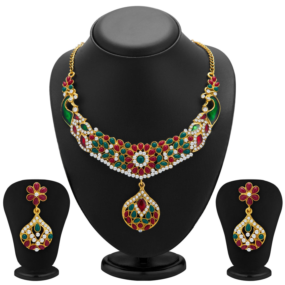 Sukkhi Classic Peacock Gold Plated Meenakari AD Necklace Set for Women
