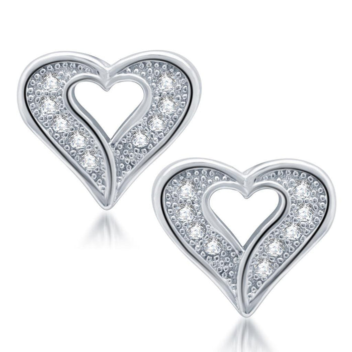 Pissara Exquisite Rhodium Plated Micro Pave CZ Earrings