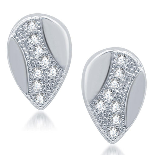 Pissara Exotic Rhodium Plated Micro Pave CZ Earrings