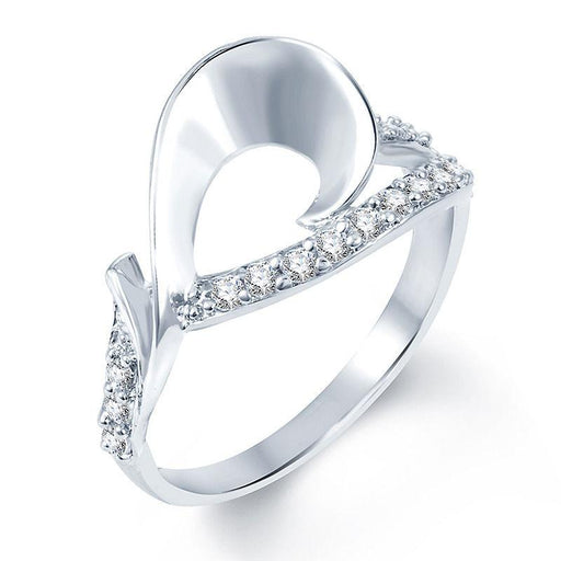Pissara Magnificent Rhodium plated CZ Studded Ring